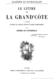 Couverture du Littré de la Grand'Côte