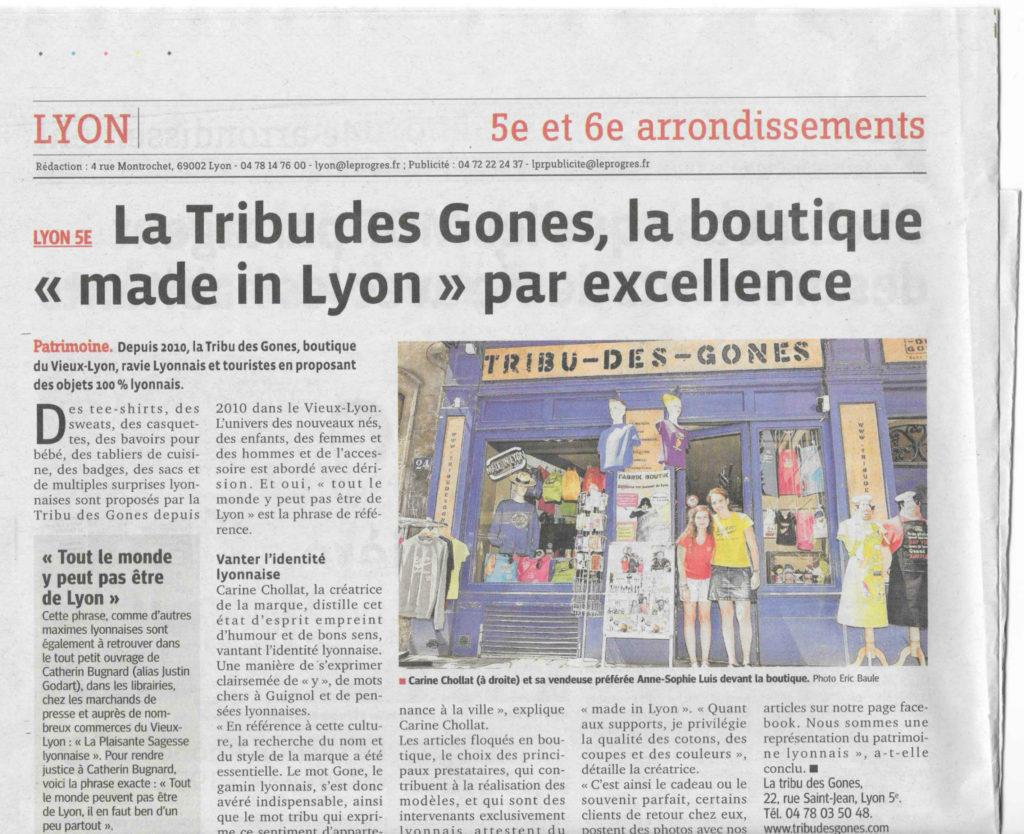 Article Le progrès Tribu des gones boutique vieux lyon souvenirs de lyon