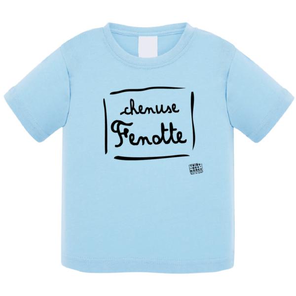 """Tshirt bébé """"Chenuse Fenotte"""" couleur bleu ciel"""