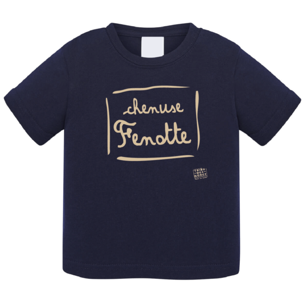 """Tshirt bébé """"Chenuse Fenotte"""" couleur bleu marine"""