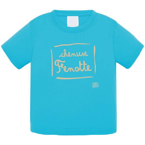 """Tshirt bébé """"Chenuse Fenotte"""" couleur bleu turquoise"""