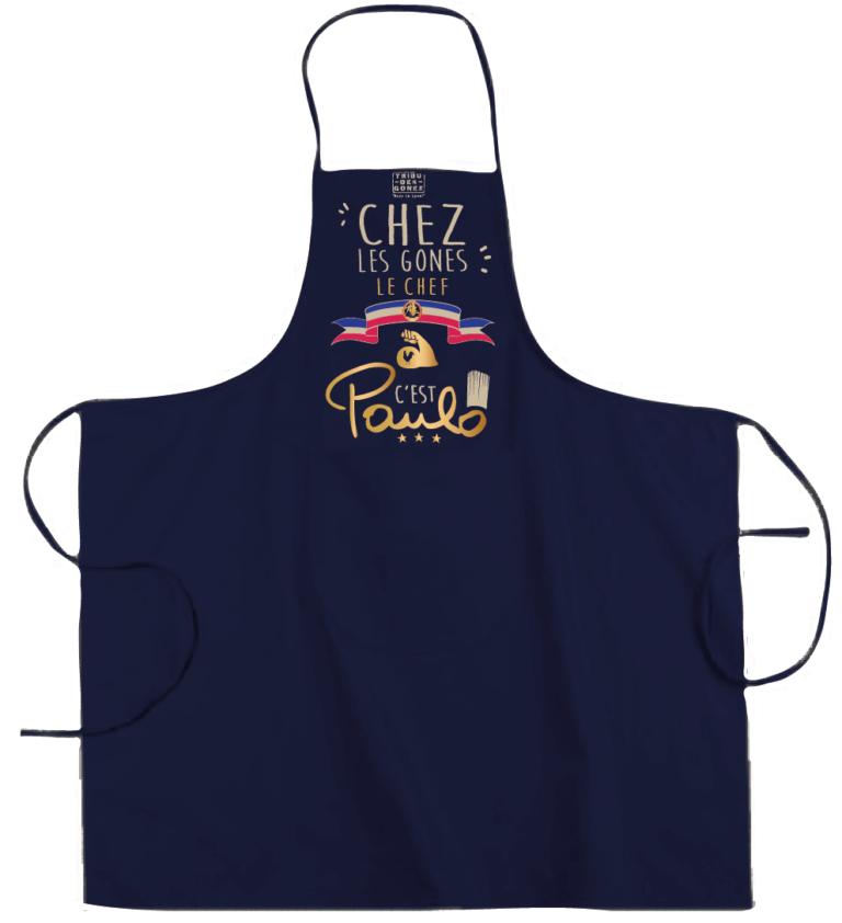 """Tablier dicton """"Chez les Gones le chef c'est paulo"""" couleur bleu marine"""