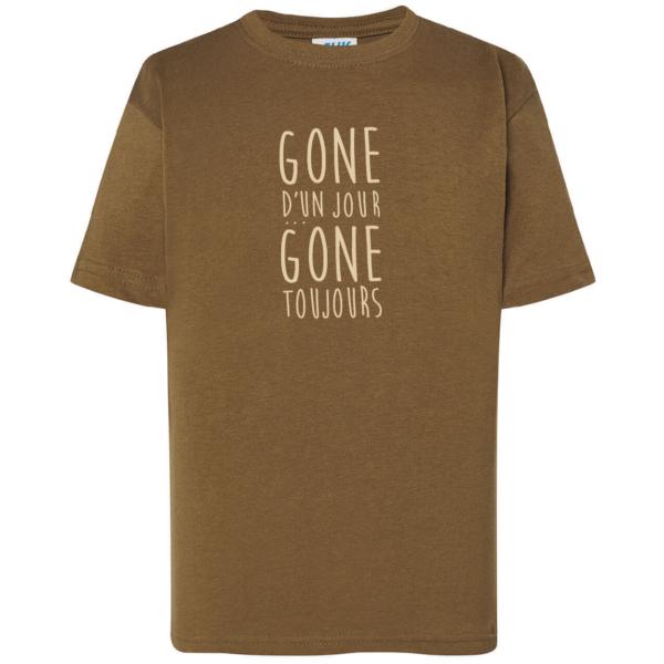 """Tshirt enfant """"gone d'un jour gone toujours"""" couleur kaki"""