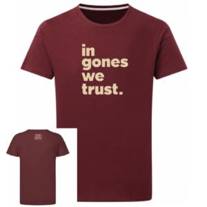 Tshirt in gones we trust couleur bordeaux, face
