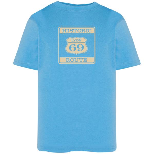"""Tshirt enfant """"Historic route 69"""" couleur bleu ciel"""