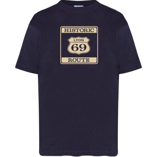 """Tshirt enfant """"Historic route 69"""" couleur bleu marine"""