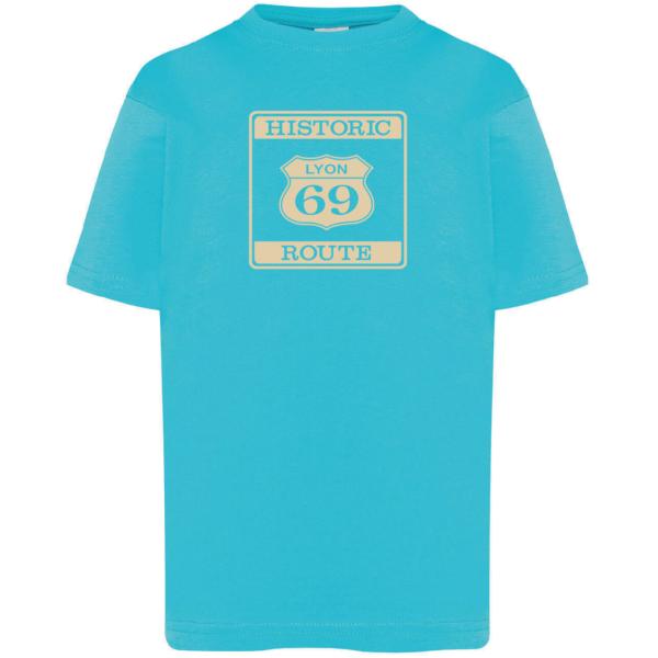"""Tshirt enfant """"Historic route 69"""" couleur bleu turquoise"""