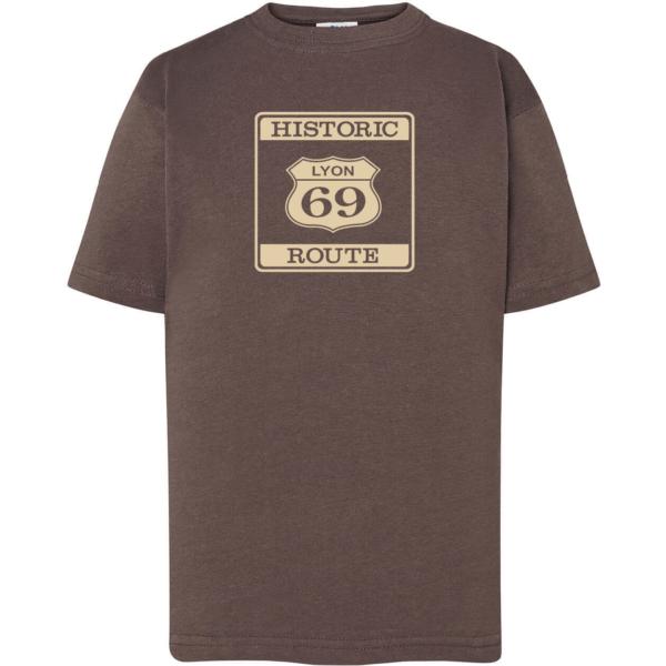 """Tshirt enfant """"Historic route 69"""" couleur gris plomb"""