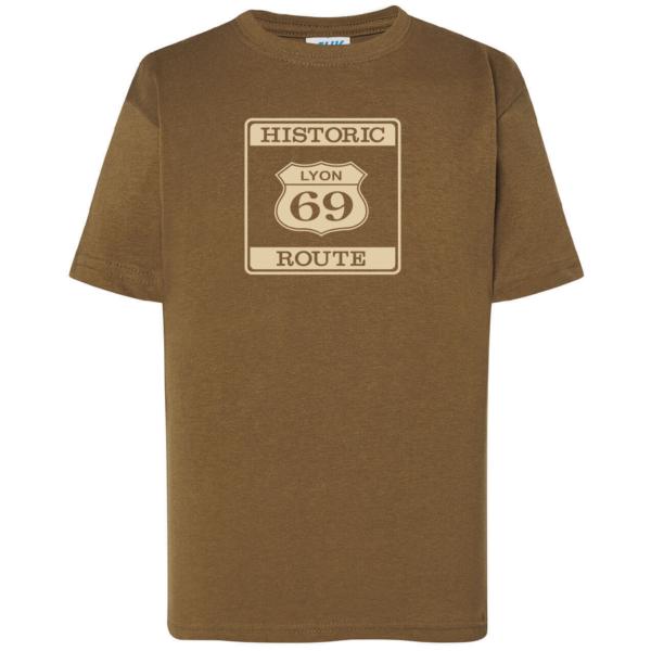 """Tshirt enfant """"Historic route 69"""" couleur kaki"""