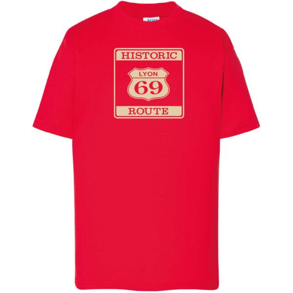 """Tshirt enfant """"Historic route 69"""" couleur rouge"""