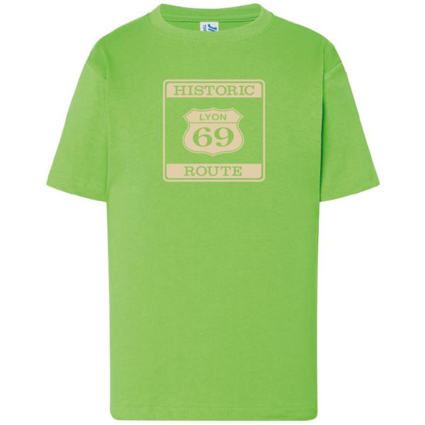 """Tshirt enfant """"Historic route 69"""" couleur vert"""