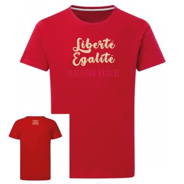 Tshirt liberté égalité saucisson brioché couleur rouge, face