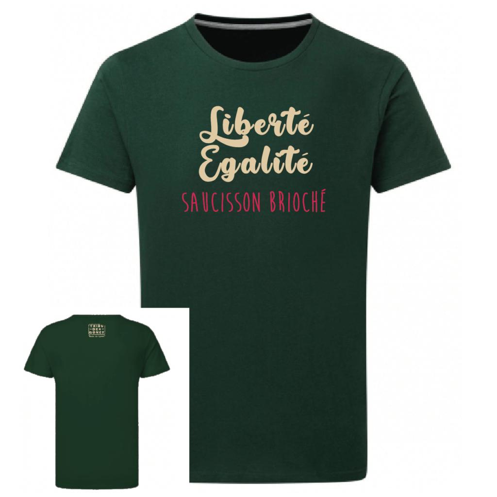 Tshirt liberté égalité saucisson brioché couleur vert, face