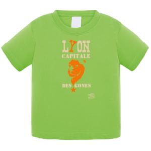 """Tshirt bébé """"Lion capitale des Gones"""" couleur vert"""