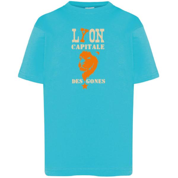 """Tshirt enfant """"lyon capitale des gones"""" couleur bleu turquoise"""