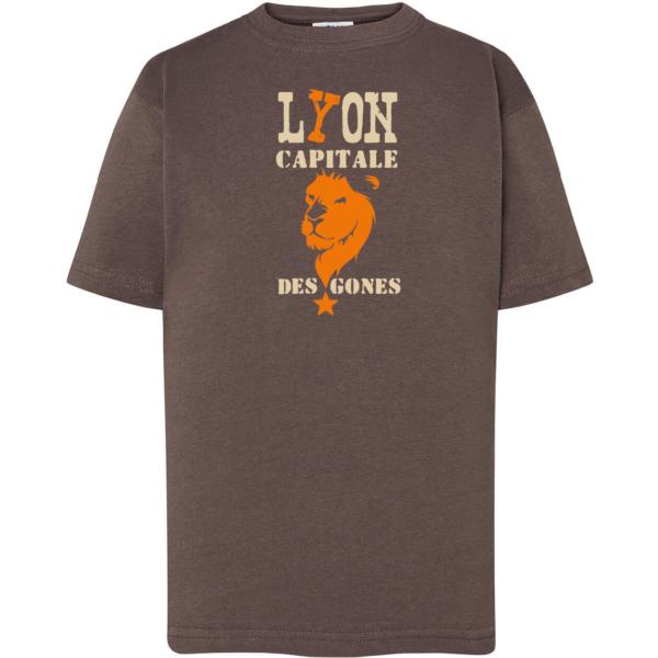 """Tshirt enfant """"lyon capitale des gones"""" couleur gris plomb"""