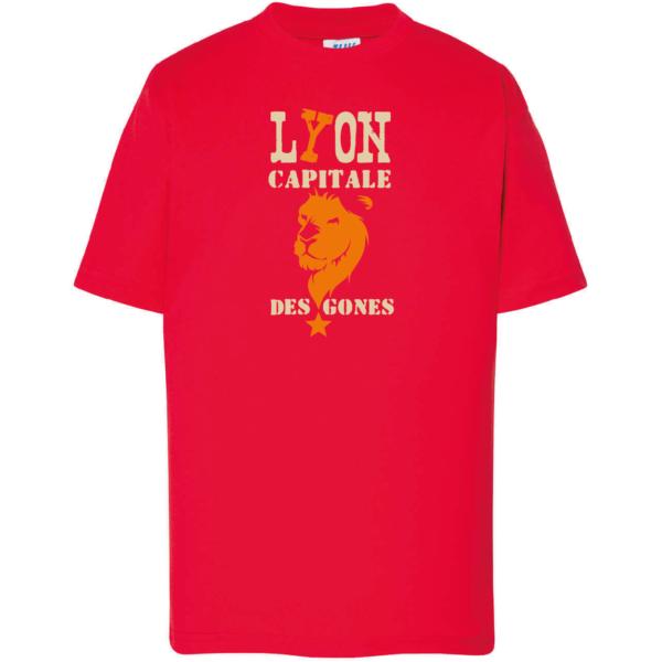 """Tshirt enfant """"lyon capitale des gones"""" couleur rouge"""