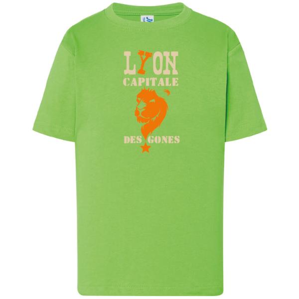 """Tshirt enfant """"lyon capitale des gones"""" couleur vert"""