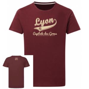 Tshirt lyon capitale des gones vintage couleur bordeaux, face