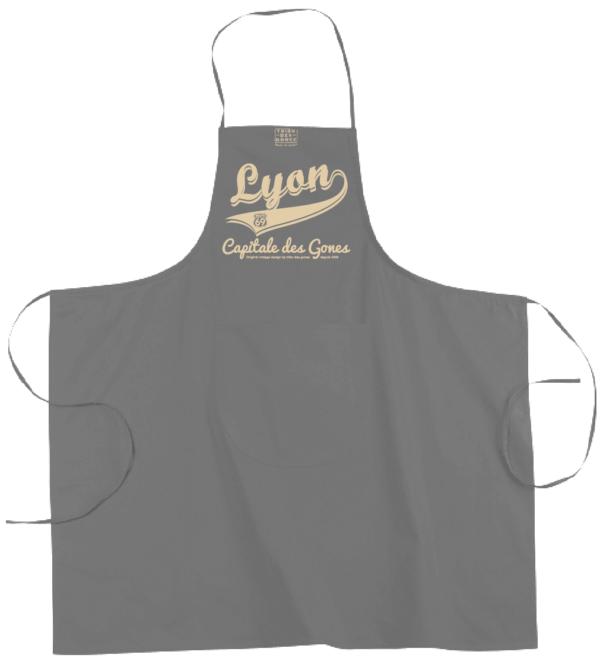 """Tablier dicton """"Lyon capitale des Gones"""" couleur gris"""