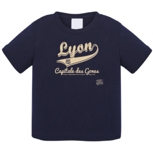"""Tshirt bébé """"Lyon capitale des Gones vintage"""" couleur bleu marine"""