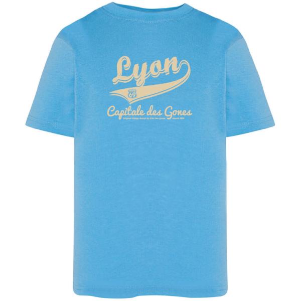 """Tshirt enfant """"lyon capitale des gones vintage"""" couleur bleu ciel"""