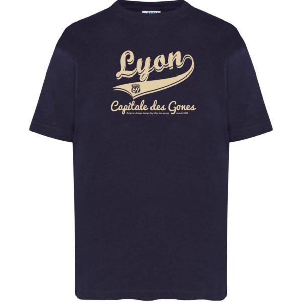 """Tshirt enfant """"lyon capitale des gones vintage"""" couleur bleu marine"""