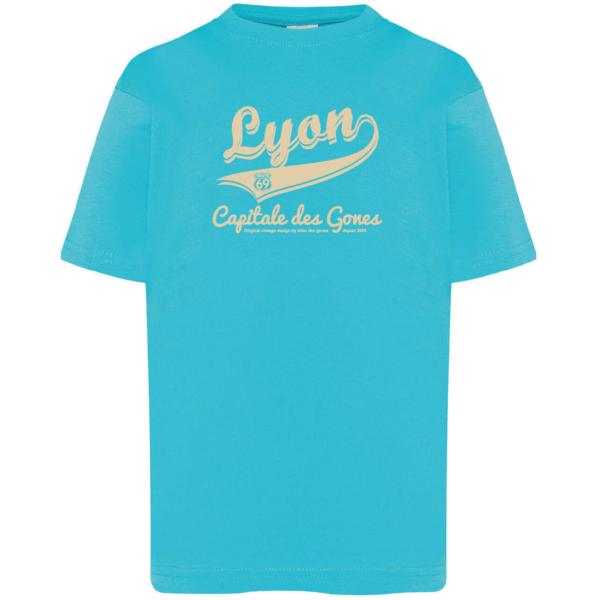 """Tshirt enfant """"lyon capitale des gones vintage"""" couleur bleu turquoise"""
