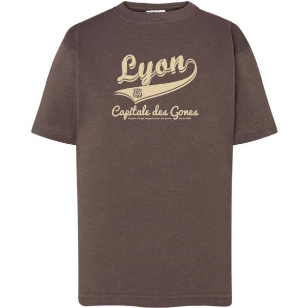 """Tshirt enfant """"lyon capitale des gones vintage"""" couleur gris plomb"""