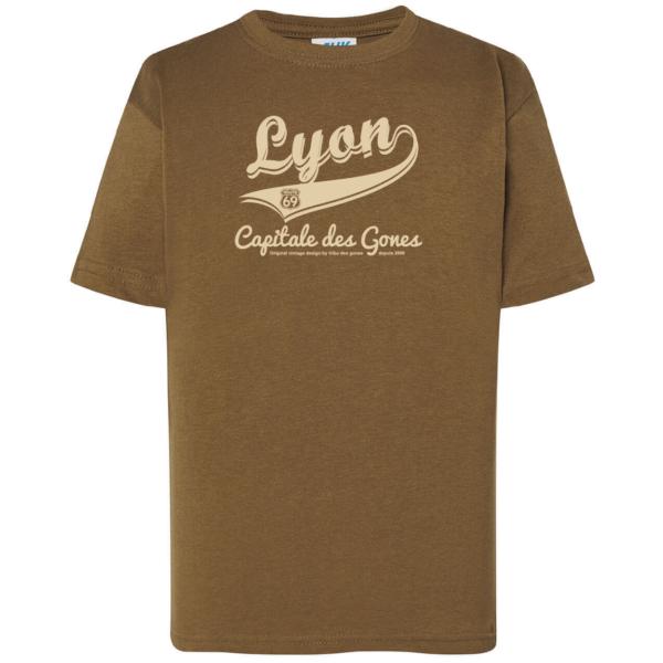 """Tshirt enfant """"lyon capitale des gones vintage"""" couleur kaki"""