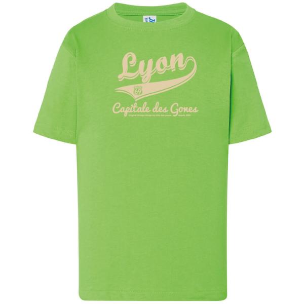 """Tshirt enfant """"lyon capitale des gones vintage"""" couleur vert"""