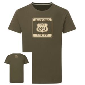 Tshirt Historic route 69 couleur kaki, face