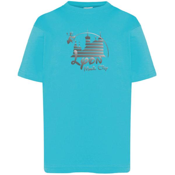 """Tshirt enfant """"lyon magic city"""" couleur bleu turquoise"""