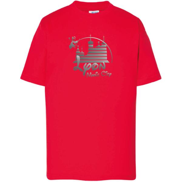 """Tshirt enfant """"lyon magic city"""" couleur rouge"""