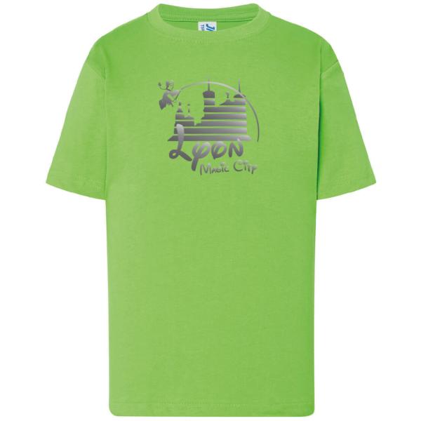 """Tshirt enfant """"lyon magic city"""" couleur vert"""