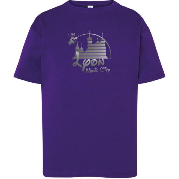 """Tshirt enfant """"lyon magic city"""" couleur violet"""