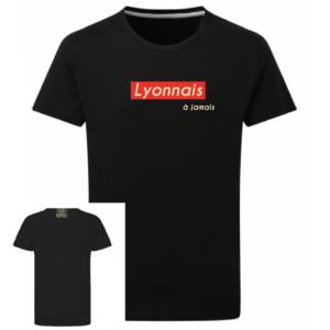 Tshirt lyonnais à jamais couleur noir, face