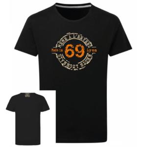 Tshirt même à l'envers 69 reste lyonnais couleur noir, face