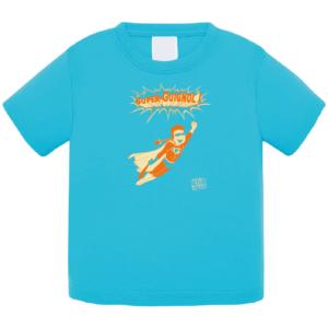 """Tshirt bébé """"super guignol"""" couleur bleu turquoise"""