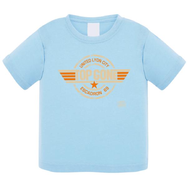 """Tshirt bébé """"top gone"""" couleur bleu ciel"""