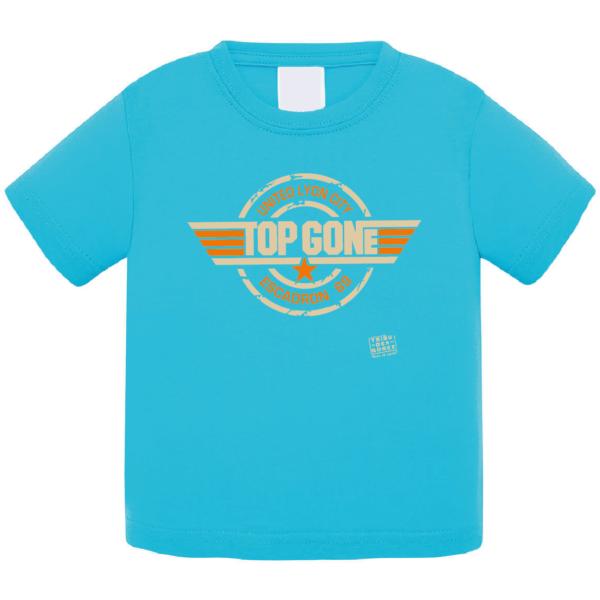 """Tshirt bébé """"top gone"""" couleur bleu turquoise"""