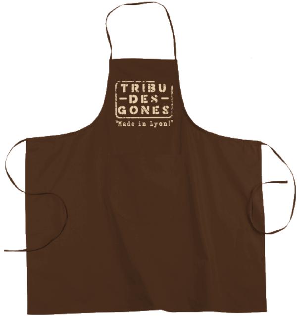 """Tablier dicton """"Tribu des Gones"""" couleur marron"""