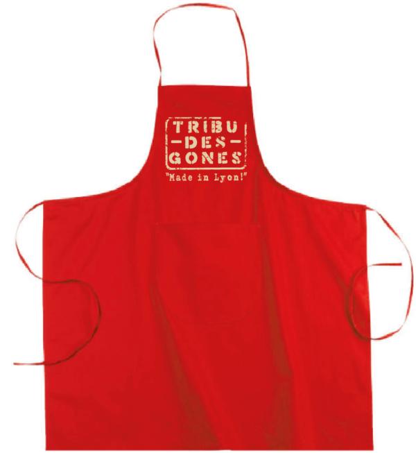 """Tablier dicton """"Tribu des Gones"""" couleur rouge"""