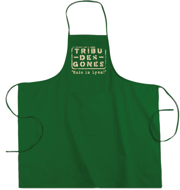 """Tablier dicton """"Tribu des Gones"""" couleur vert"""