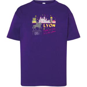 """Tshirt enfant """"voyage au coeur de la ville lumiere"""" couleur violet"""