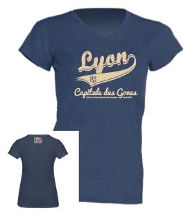 """Tshirt Femme """"lyon capitale des gones vintage"""" couleur bleu jean"""