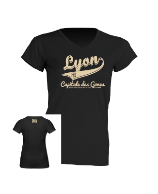 """Tshirt Femme """"lyon capitale des gones vintage"""" couleur noir"""