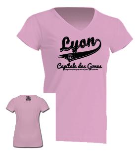 """Tshirt Femme """"lyon capitale des gones vintage"""" couleur rose pale"""