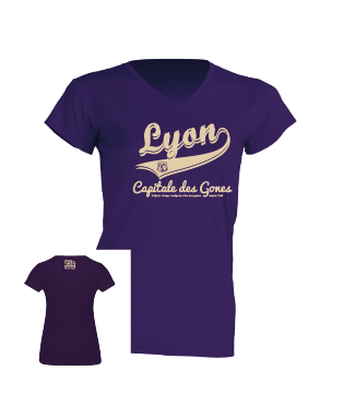 """Tshirt Femme """"lyon capitale des gones vintage"""" couleur violet"""