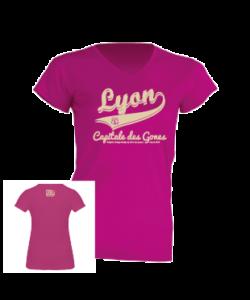"""Tshirt Femme """"lyon capitale des gones vintage"""" couleur fushia"""